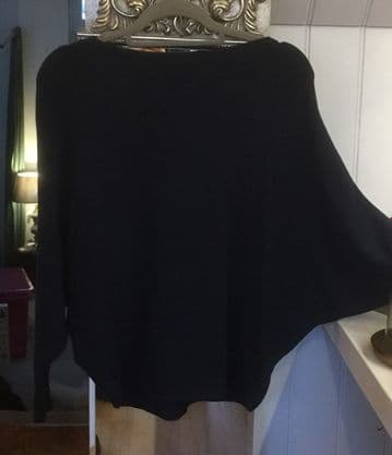 Pearl Back Batwing Jumper - Navy