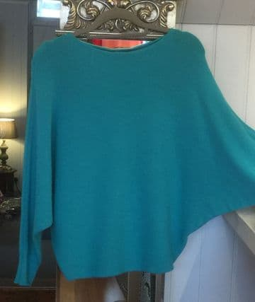 Pearl Back Batwing Jumper - Turquoise