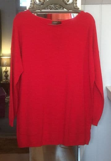 Pearl Back Two Pockets Jumper - Red