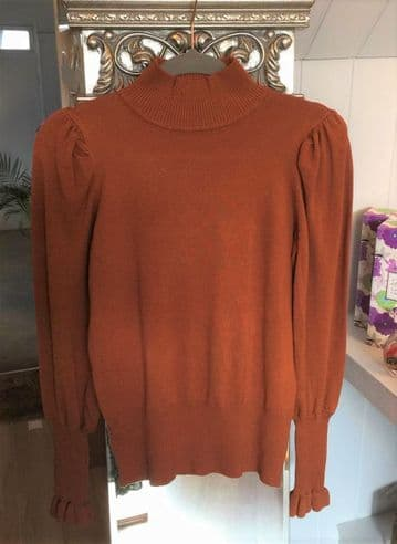 Puffed Sleeve Turtle Neck Jumper - Brown