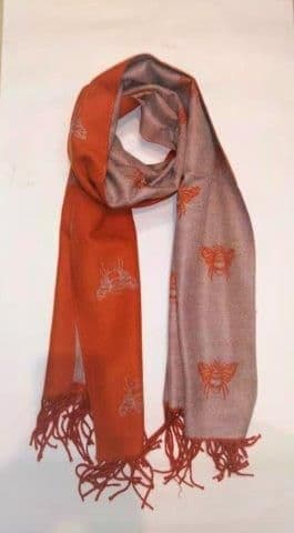 Reversible Bee Pashmina & Scarf - Orange & Grey