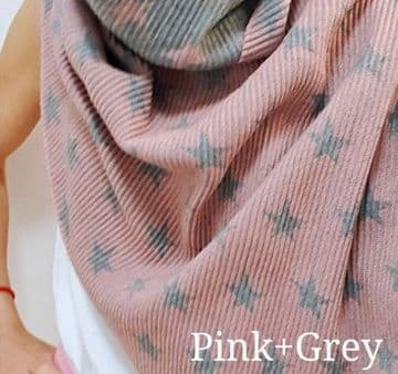 Reversible Crinkle Small Stars Scarf - Pink & Grey