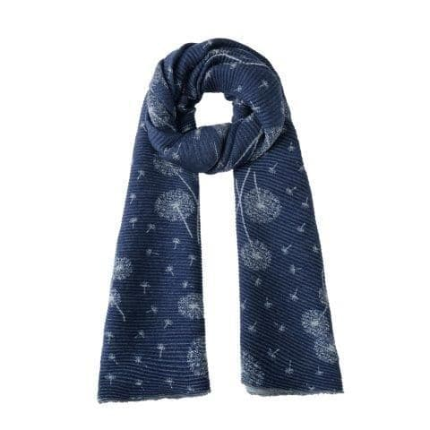 Reversible Crinkly Dandelions Pashmina & Scarf - Denim Blue & Grey