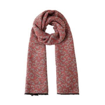 Reversible Crinkly Leopard Pashmina & Scarf - Pink & Grey