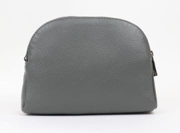 Rounded Top Leather Zipped Cross Body Bag - Dark Grey