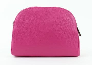 Rounded Top Leather Zipped Cross Body Bag - Fuschia