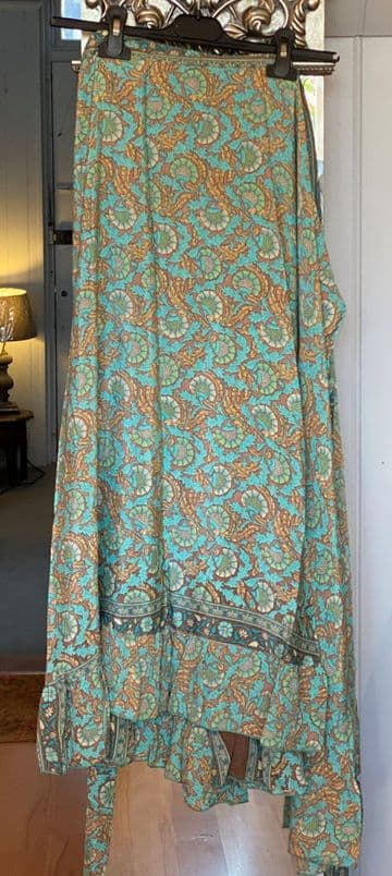Silk Wrap Skirt with Frill - Turquoise Thistle