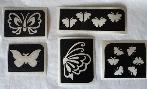 5 x MIXED BUTTERFLY GLITTER TATTOO STENCILS