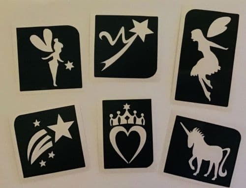 6 x MIXED FAIRY THEME GLITTER TATTOO STENCILS