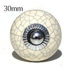 30mm cream crackle round
