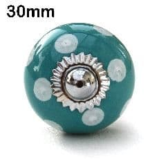 30mm turquoise/white spots