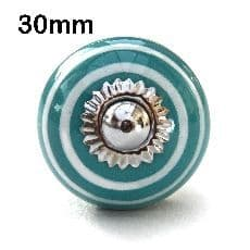 30mm turquoise/white stripes