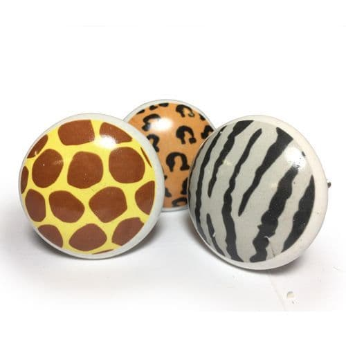 Set of 3 Animal Print Knobs