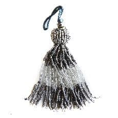 Black and crystal tassel (small beads)