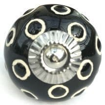 black etched dots knob