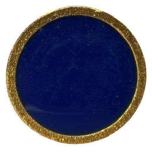Blue Enamel Disk Gold Trim