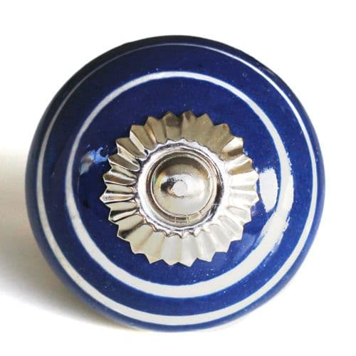 blue with white swirl knob