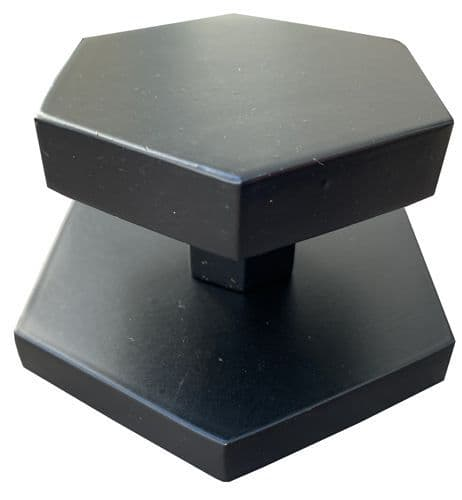 Brass Hexagon External Door Knob Matt Black Finish