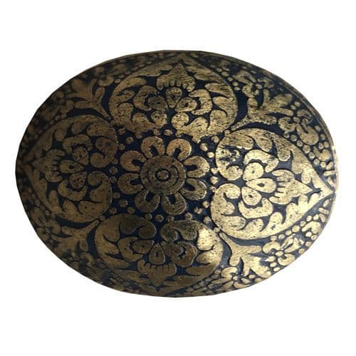 Brass Oval Marrakesh Blue