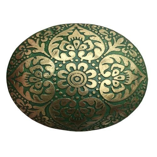 Brass  Oval Marrakesh Green
