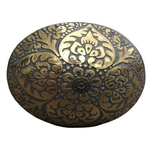 Brass  Oval Marrakesh Grey