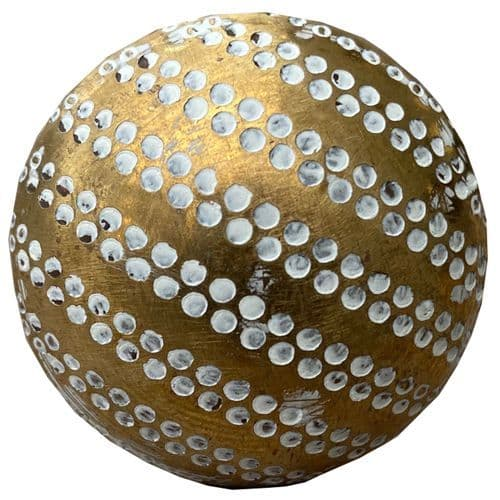Brass white dots knob
