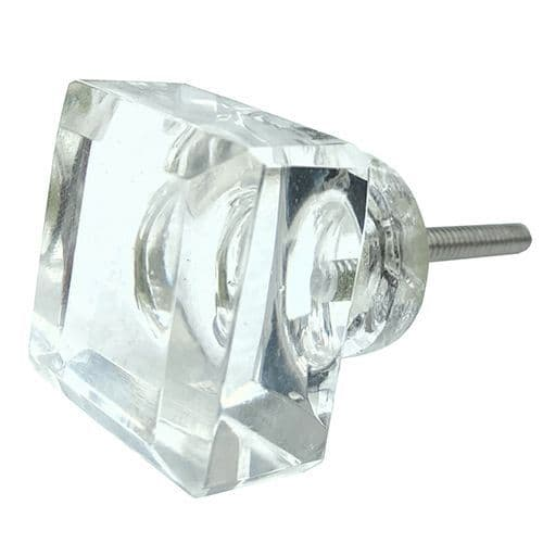 Clear Cut Glass Square  Knob