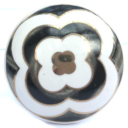 Gold Flower Knob BLACK