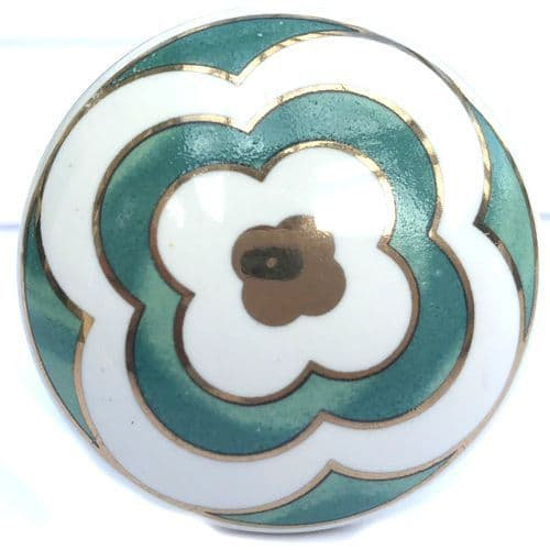 Gold Flower Knob GREEN
