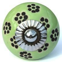 Green/Black Dotty Flower Knob