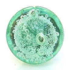 Green Bubble Glass Knob (silver)