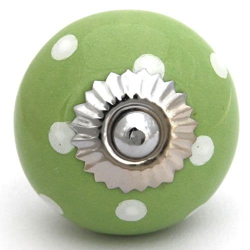 Green knob  with white spots