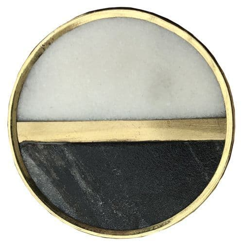 Grey Black White Stone Circle with Gold Strip and Trim