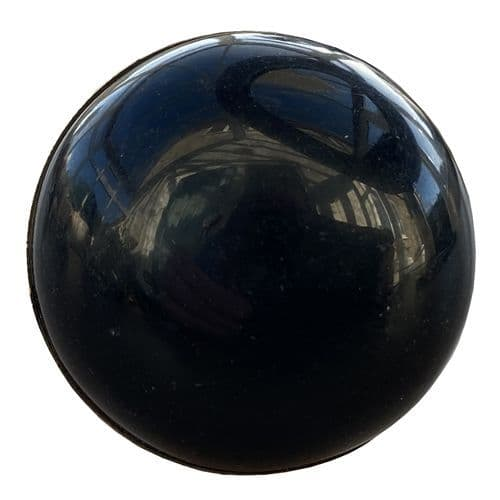 Large Domed Black Knob - Silver
