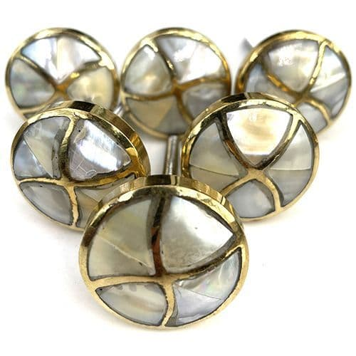 Set of 6 Mother Of Pearl Brass Bow