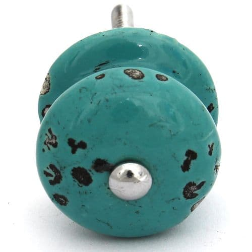 Small distressed knob - Turquoise