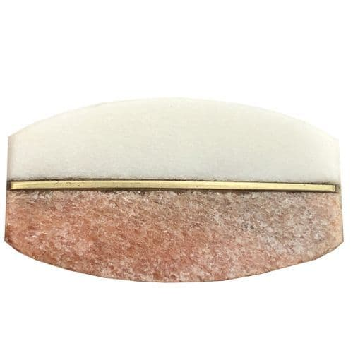 Stone Oval White Pink Gold Strip