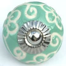 turquoise etched flower knob