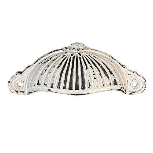 White Distressed Fluted Cup Handles