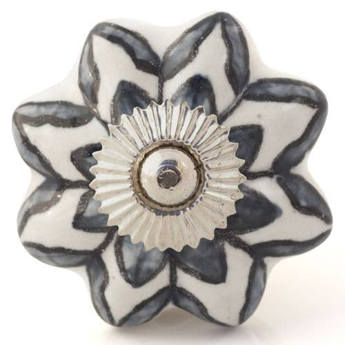 white/grey flower melon knob