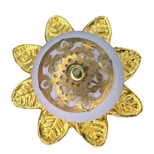 White knob - 'Fancy Gold Fitting with Gold Flower' Back plate