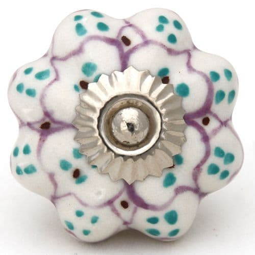white/lilac/green pretty knob