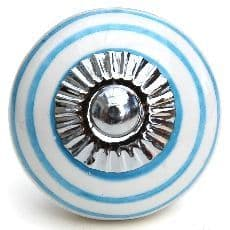 white with bright blue stripes knob