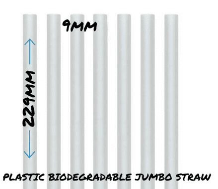 9mm x 229mm PLASTIC JUMBO SMOOTHIE STRAW BIODEGRADABLE  NATURAL (OFF WHITE)