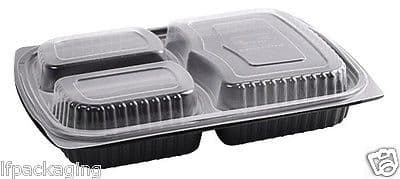 Black Rectangular 3 Compartment Plastic Microwavable Container / Clear Lids Tray