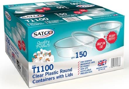 Satco Round Microwave Containers & Lids [S1100] 750ml x 150