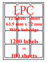 PDL-12s ( 12 labels per sheet )(Now no VAT)