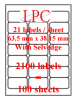 PDL-21s ( 21 labels per sheet )(Now no VAT)