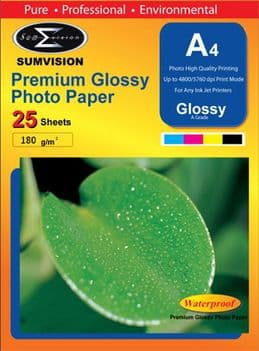 Sumvision 180gsm Premium Glossy A4 Paper x 40 packs (1000 Sheets)(NO VAT on prices)