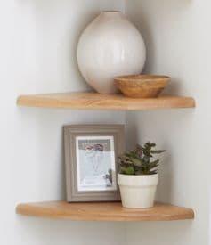 Natural Solid Light Oak Floating Corner Shelf  H2cm x D25cm x W25cm
